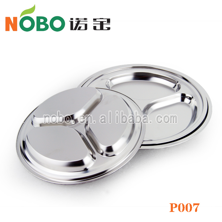 High Quality Stainless Steel Round Food Tray With 3 Compartments ...