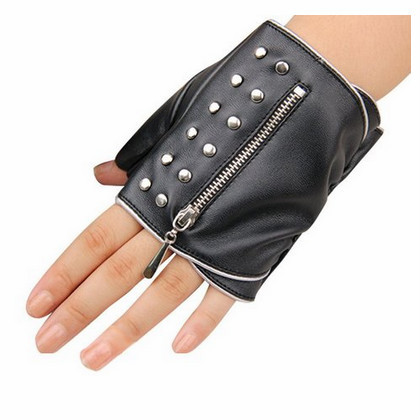 ladies fingerless leather hand gloves sexy driving leather gloves