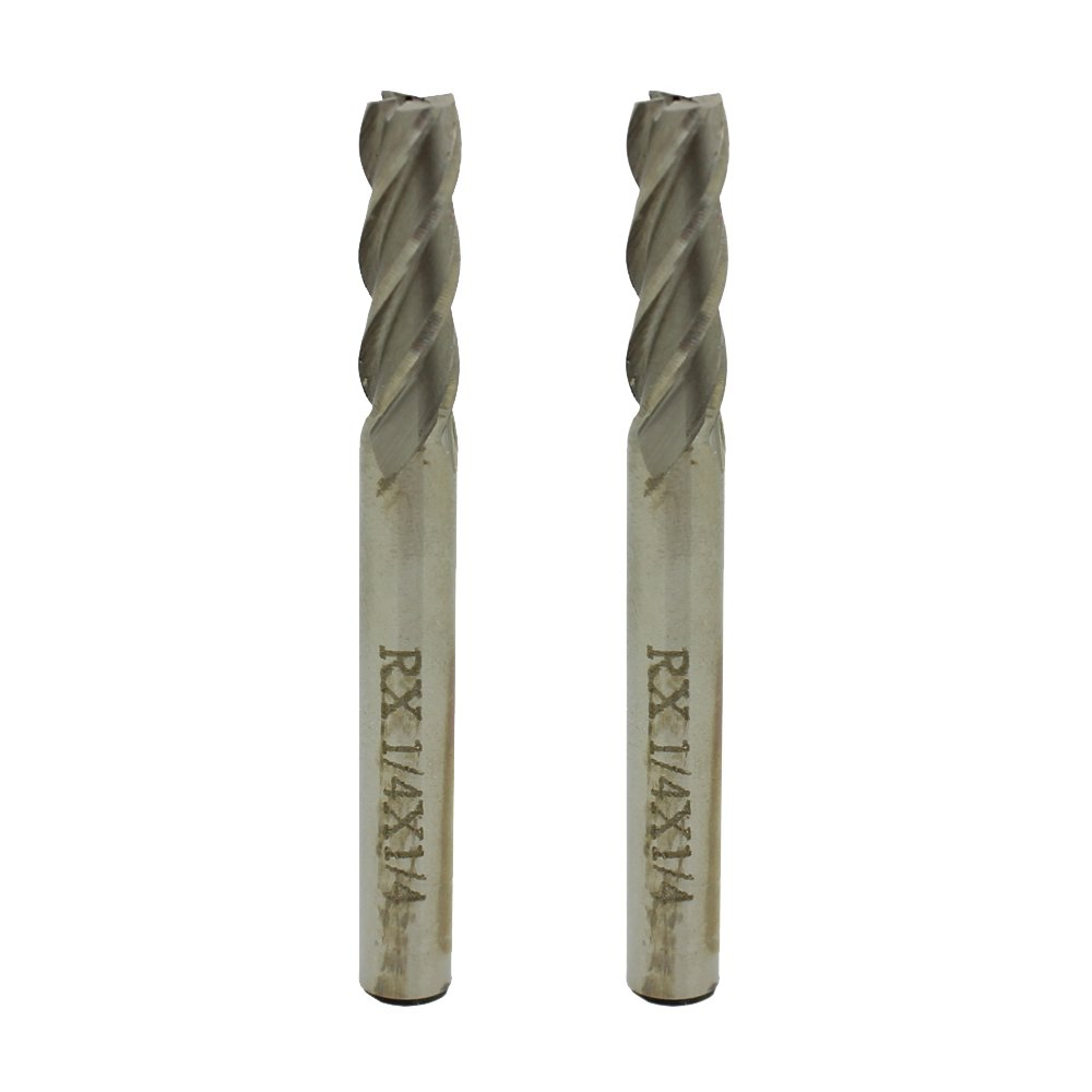"In-tool-home 1/4"" X 1/4"" HSS 4 Flute Straight End Mills Cutter Drill Bit Pack of 2"