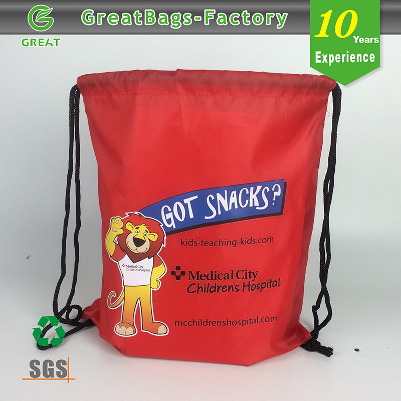 Stock Eye-catching Cinch Pack nylon fabric drawstring bag