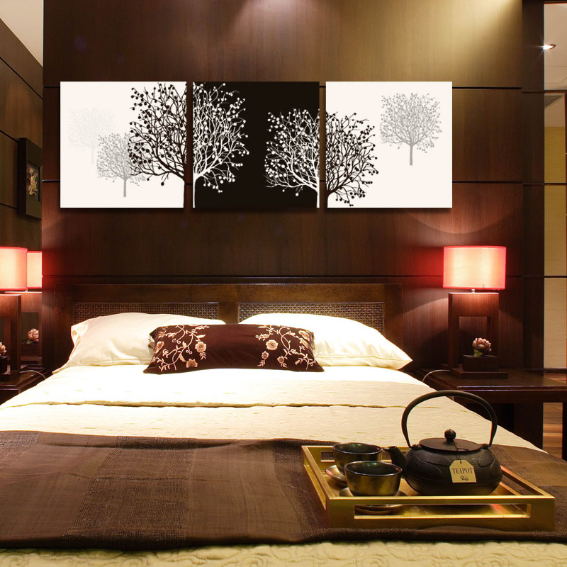 Black And White Paintings For Bedroom Bedroom Sets Black Modern Bedroom Black Bedroom Furniture Sets Pictures: 3 Panel Black And White Cuadros Tree Of Life Prints