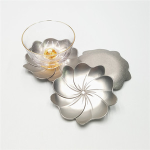 Japan Style Cherry Blossom Design Metal Alloy Custom Drinking Mats for Tea Sets
