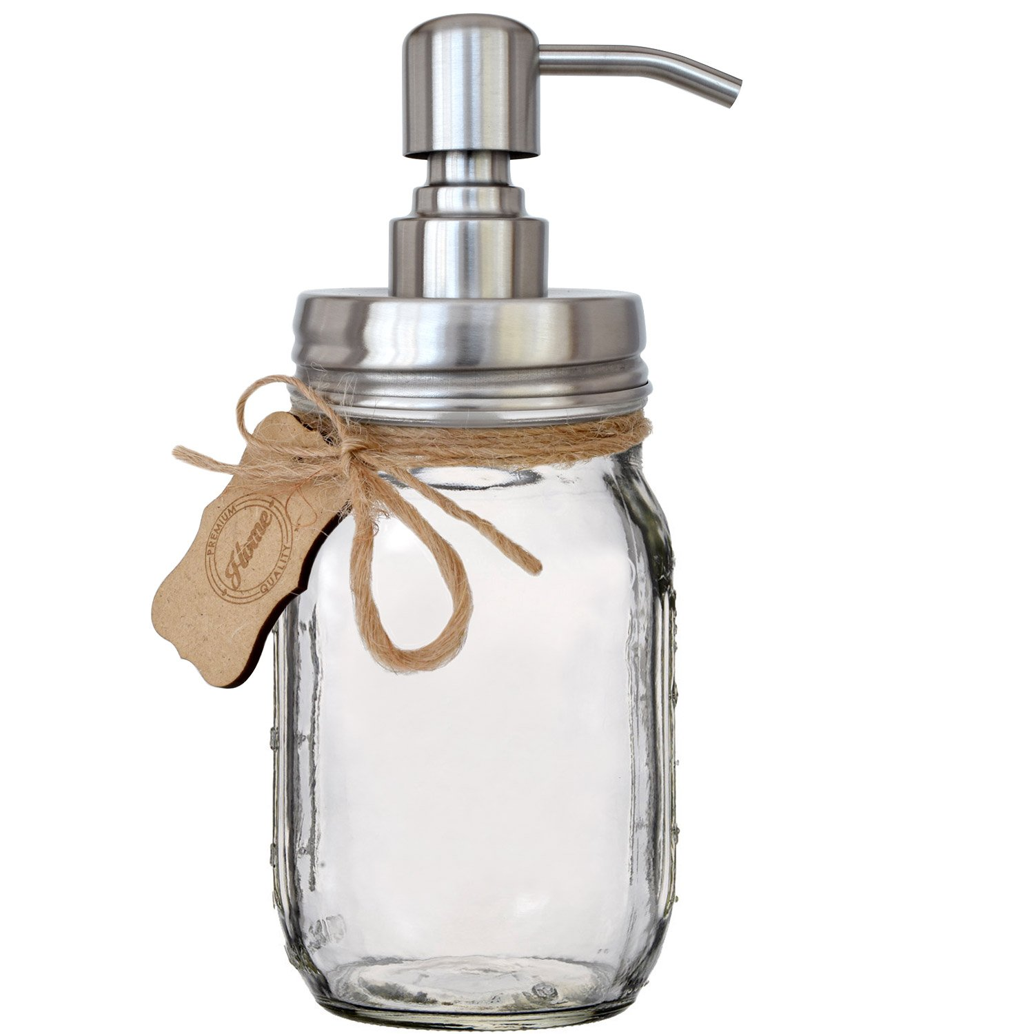Premium Home Quality Premium Rust Resistant 304 18/8 Stainless Steel Mason Jar Soap Pump/Lotion Dispenser Kit by Includes 16 oz (Regular Mouth) Glass Mason Jar (Brushed Stainless Steel)