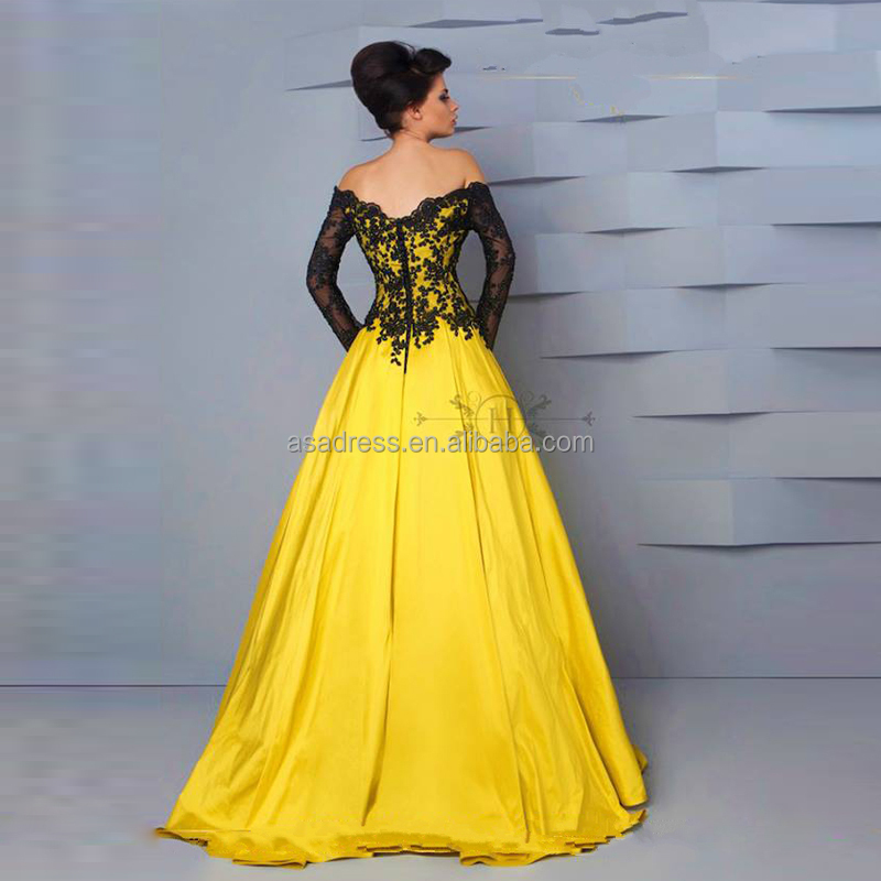 4cc6d8fe29 HTJ24 Sexy unique elegant Lebanon maxi evening Gowns Black Lace Ball Gown  Yellow off-shoulder