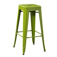 Morezhome designer 76cm height industrial high bar metal stool with footrest