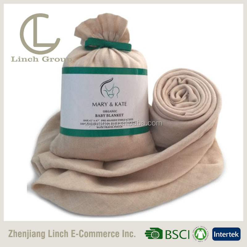 LC B-229 100% cotton unbleached muslin gauze swaddle blanket diaper fabric