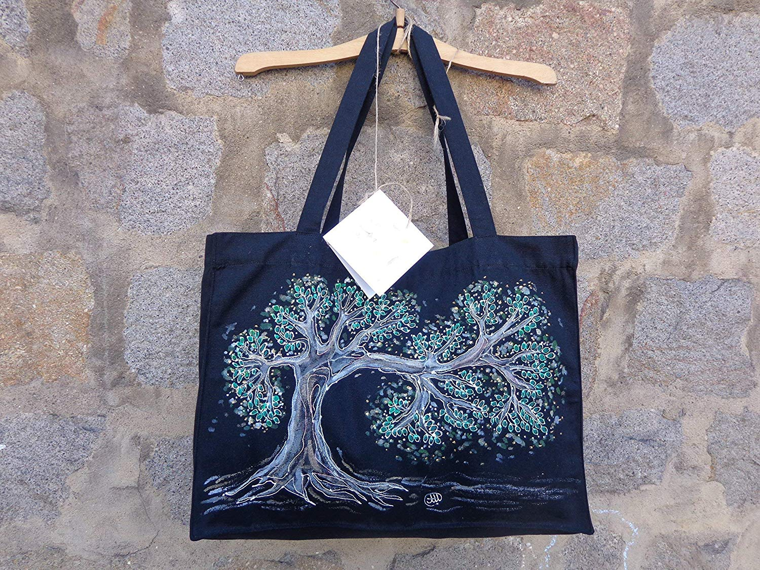 Sale!!!15% Off,Tree of Desires,Tree of Life Illustration Eko Tote Bag,Hand Painted organic cotton tote bag,Acrylic Painted Tree of Life,Black Tote Bag.