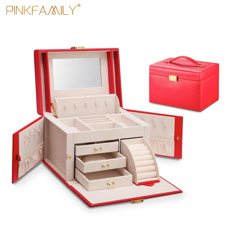 With 3 drawer organizer leather luxury jewelry gift box for sale