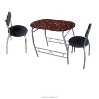 3pc coffee glass top dining table with 2