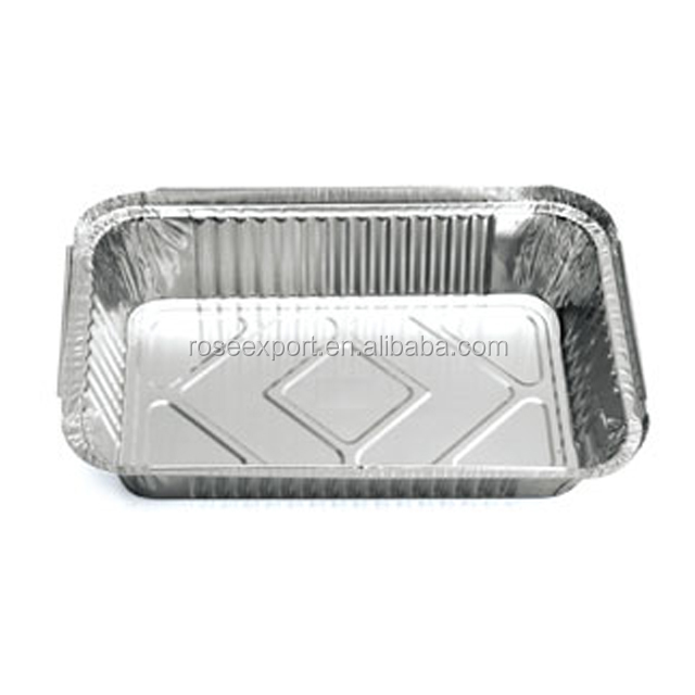 Rectangular disposable aluminium foil food containers serving tray aluminum foil box for food packaging plastic cardboard lips