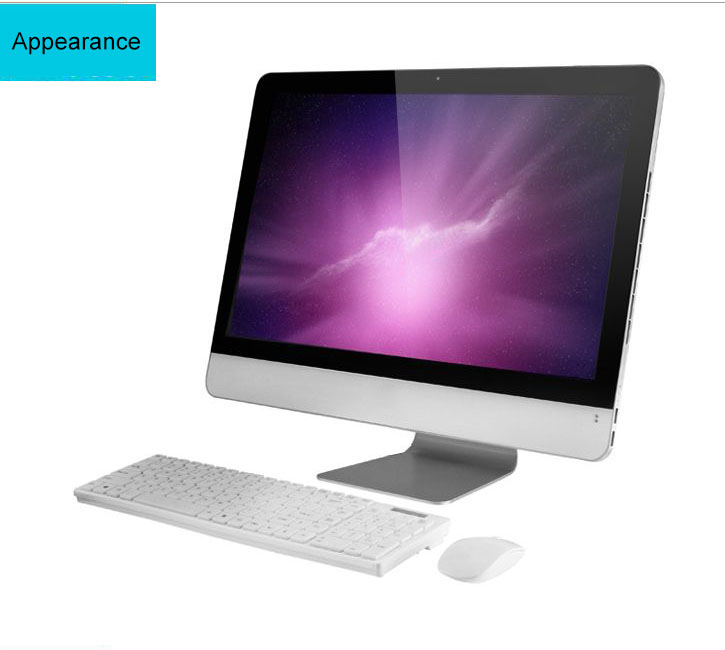 support color sliver/white 23.6 touch good quality all in one pc with 4GB 500SATA