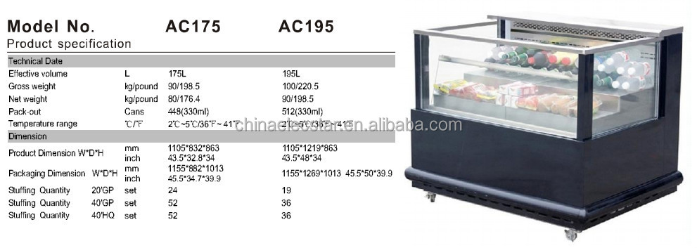 Free Standing Refrigerated Supermarket Drink Open Cooler