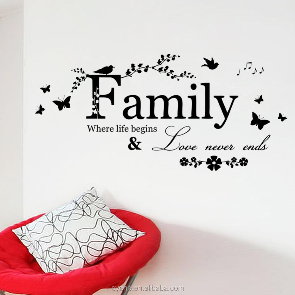 Love Life Family Quotes Vinyl Flower Smiley Sticker Chart Paper Decoration Art Vinyl