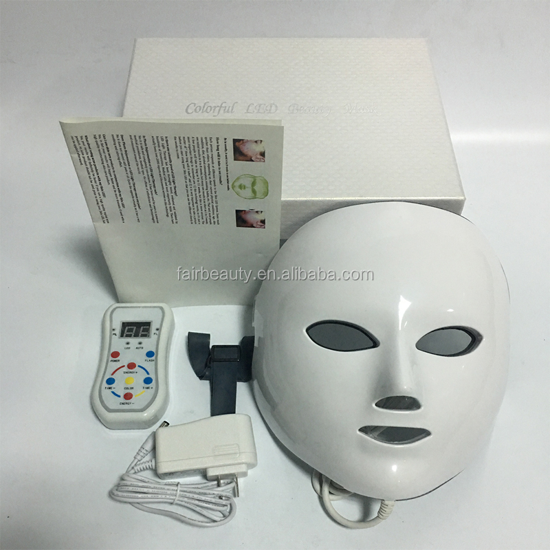 Wholesale 7 colors LED light therapy mask with neck / PDT LED light therapy Spa use facial whitening LED mask