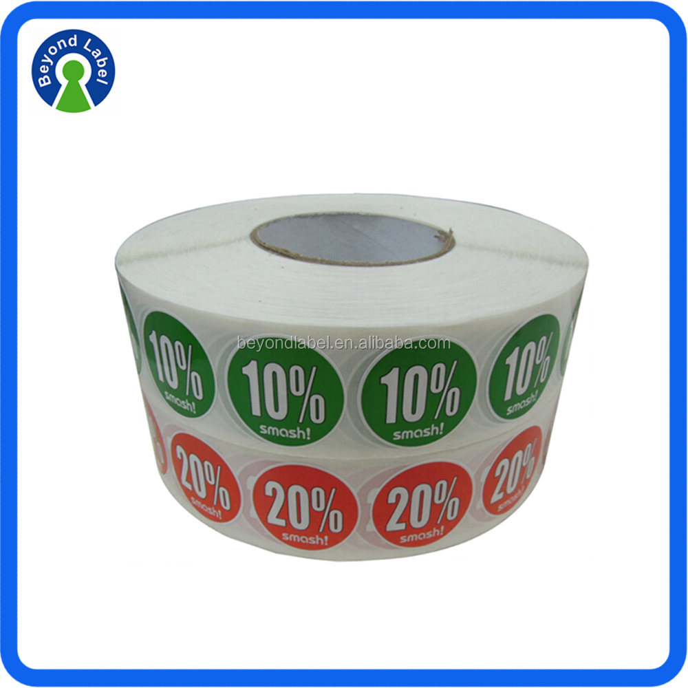 Custom Self Adhesive Glossy Paper Promotion Labels Printing Waterproof Roll Discount Labels