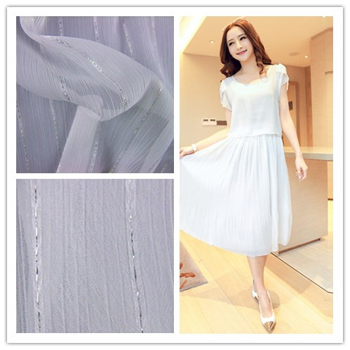 Wujiang supply 75D solid white color wholesale cheap chiffon fabric with metallic thread