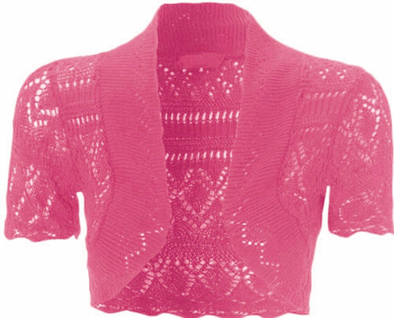 798a9ec8eee0 Get Quotations · Womens Knitted Bolero Shrug Short Sleeve Crochet Shrug  (Cerise)