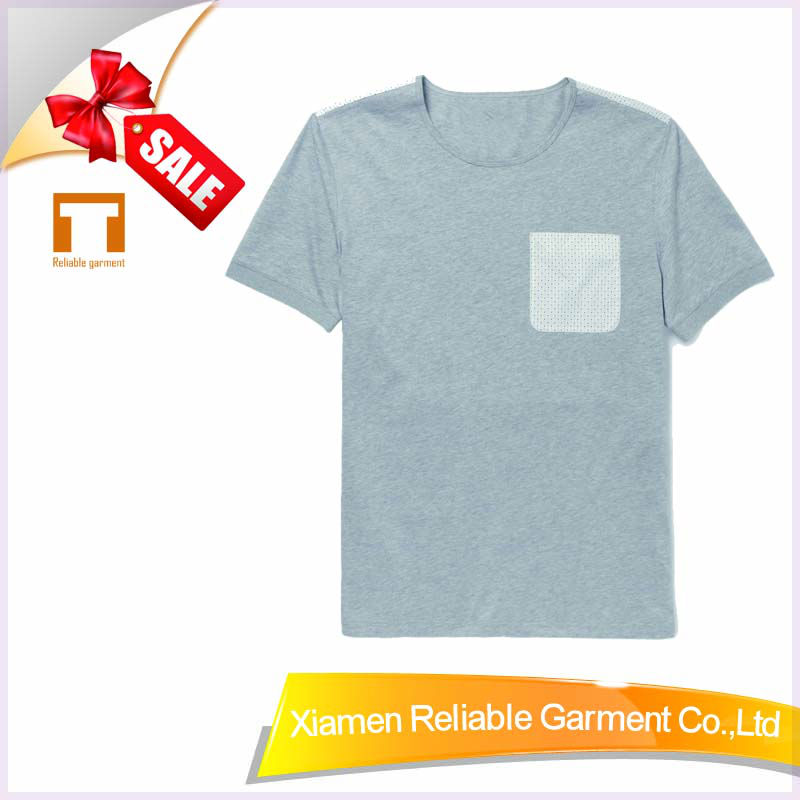 21S/32S 100% combed cotton yarn dye grey color t shirt cheap custom printed t shirt for chest pocket