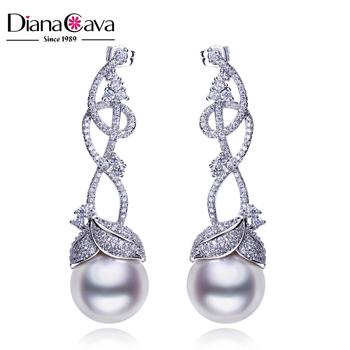 Lead Free Nickel Elegant Lady Jewelry Cc Leaf Shape Natural S Pearl Earrings