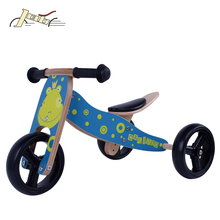 2017 New Frog Kids 2-in-1 Wooden Balance bike and tricycle bicycle for Baby