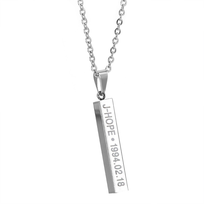 Kpop BTS Album Bangtan Boys Discoloration Name Titanium Steel Necklace women  Fan Choker necklace Jewelry