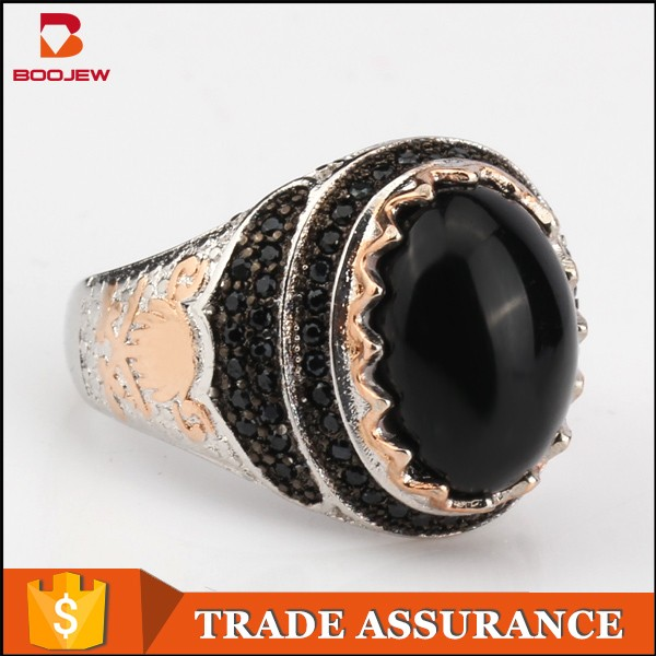 Custom Jewelry Gold Plated Single Stone Ring Designs For Men