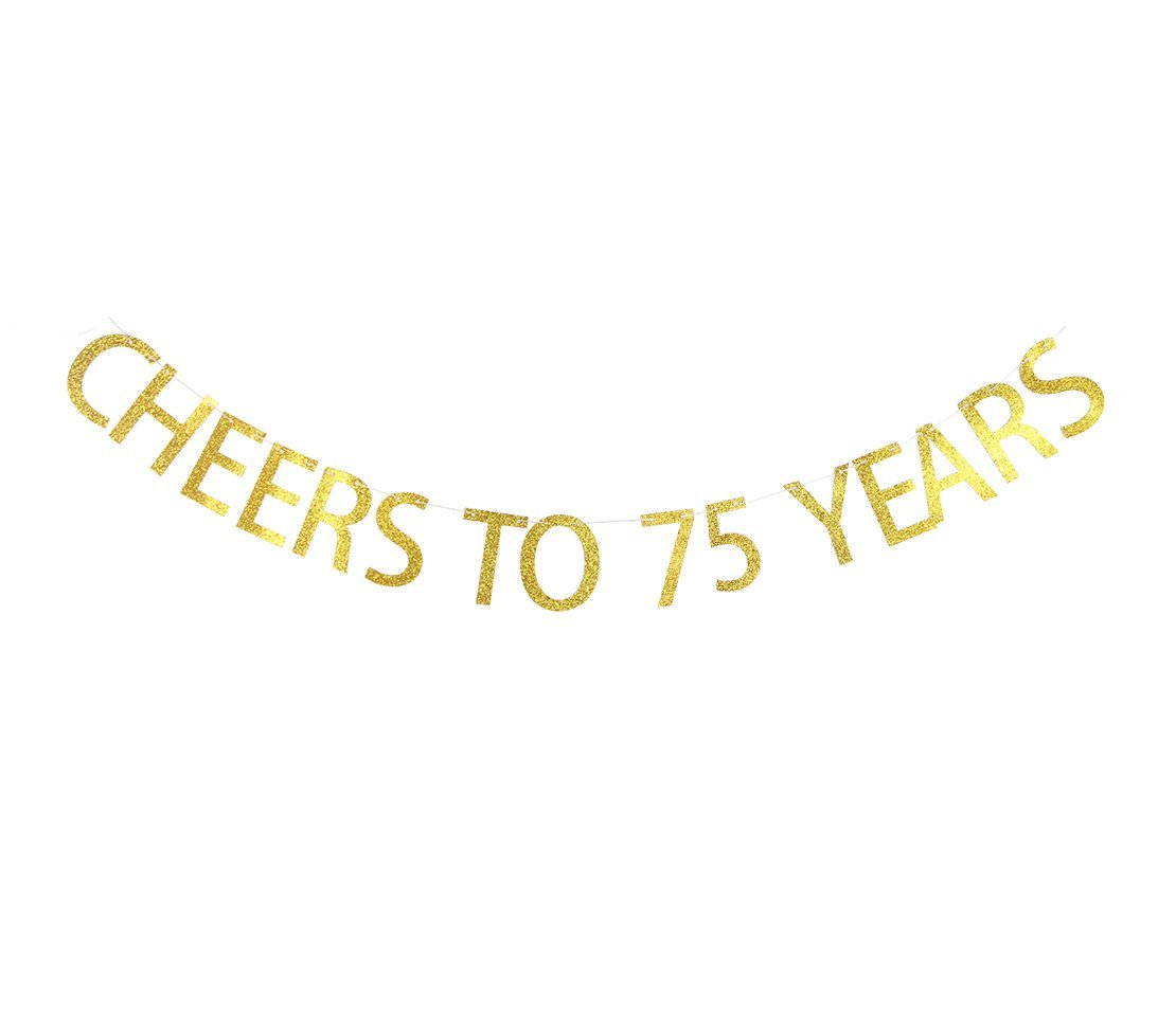 Get quotations · betalala large gold cheers to 75 years letters banner garland bunting sign party decoration photo props