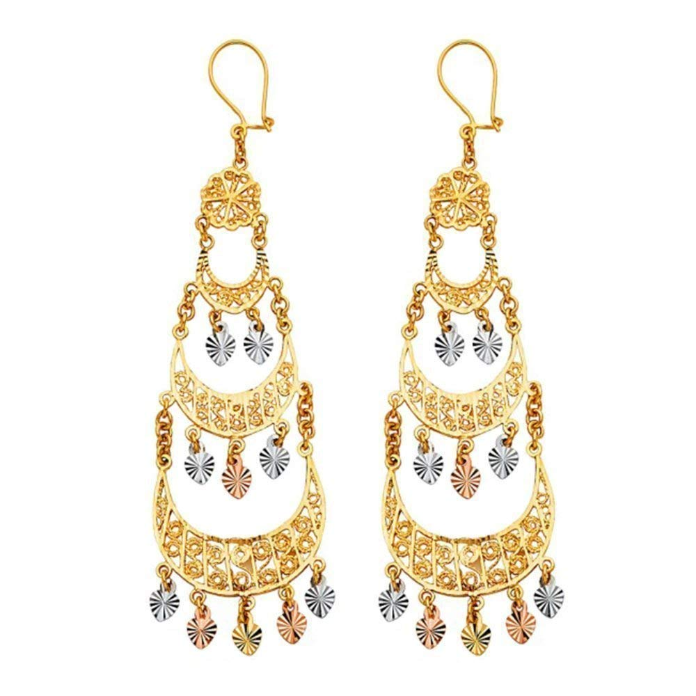 TousiAttar Gold Chandelier Earrings 14k - Dangle Earring for Women - Unique Jewelry Gift for Her – light weight