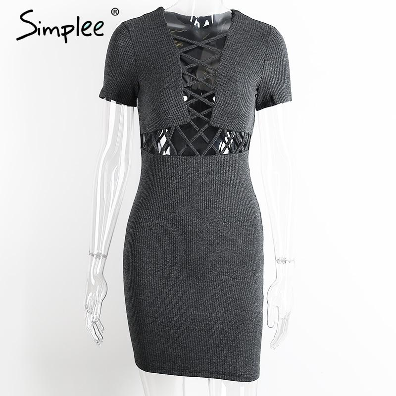 Simplee Autumn winter knitted lace up dress women Sexy red bodycon dress vestidos Elegant party short sleeve girls dress 2016 15