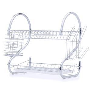 High quality wholesale supply home kitchen metal wire stainless steel Folding Dish Drainer Rack With Plastic Tray