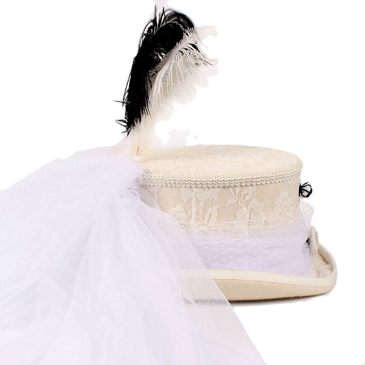 f92668c923c9f7 Get Quotations · XHD-caps Wool Victorian Gothic Ivory Lace White Wedding Hat  Steampunk Hat Top Hat