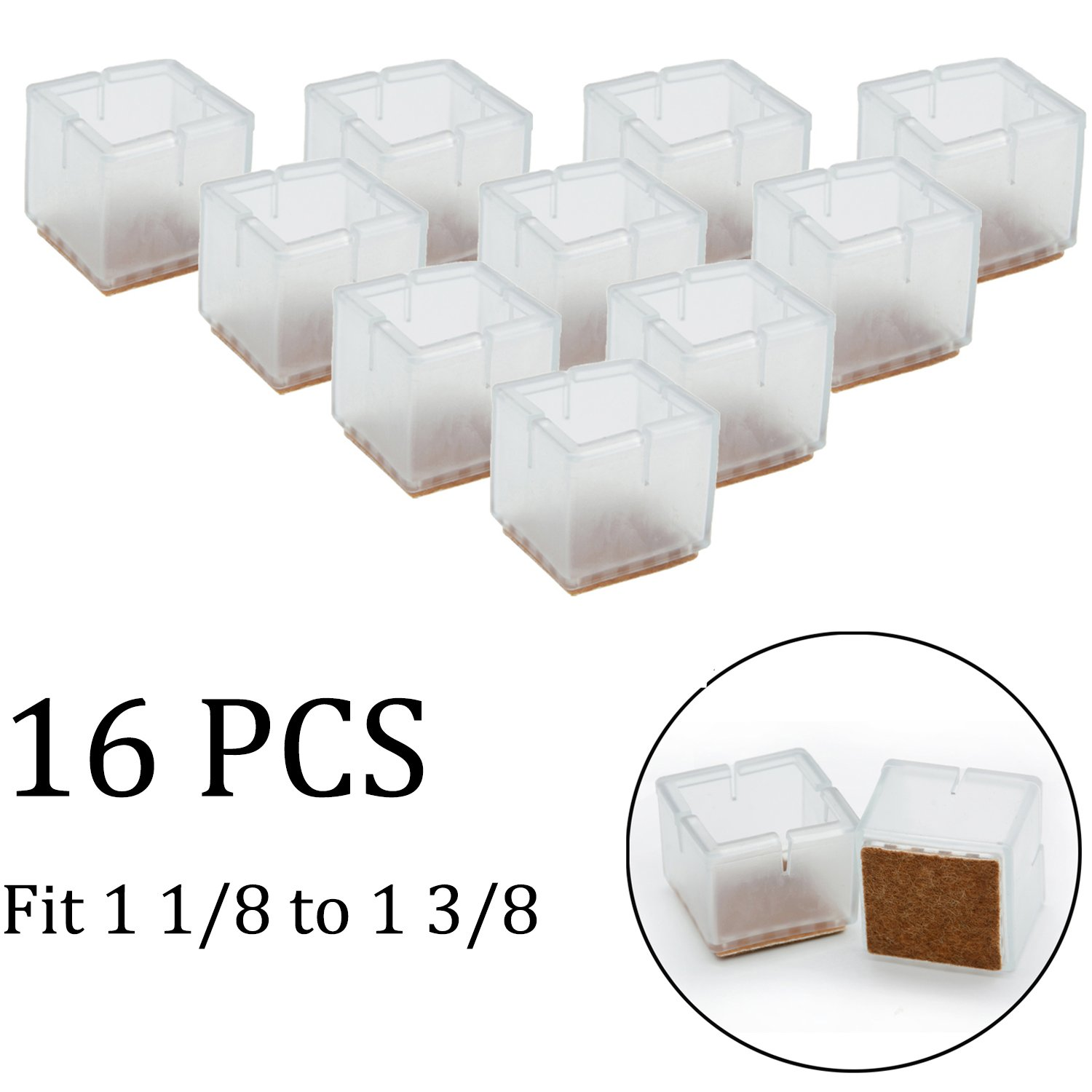b116e085579 Get Quotations · KEIVA 16 Pcs Chair Leg Caps Silicone Floor Protector  Square Furniture Table Feet Tips Covers
