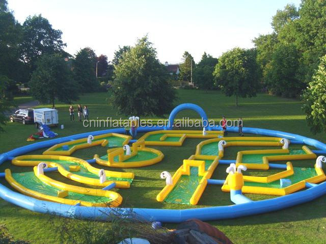 inflatable 9 hole mini crazy golf challenge