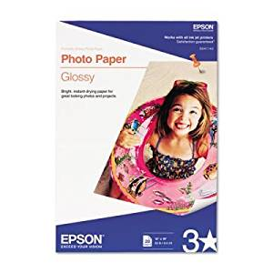 Epson Glossy Photo Paper, 60 lbs., Glossy, 13 x 19, 20 Sheets/Pack