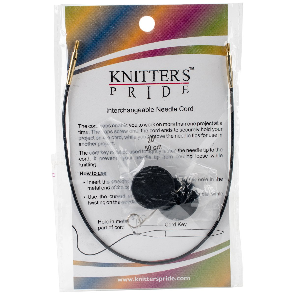"Knitter's Pride Interchangeable 49-inch (125cm) Black Gold Cord; makes 60"" (150cm) Bamboo Knitting Needle 800211"