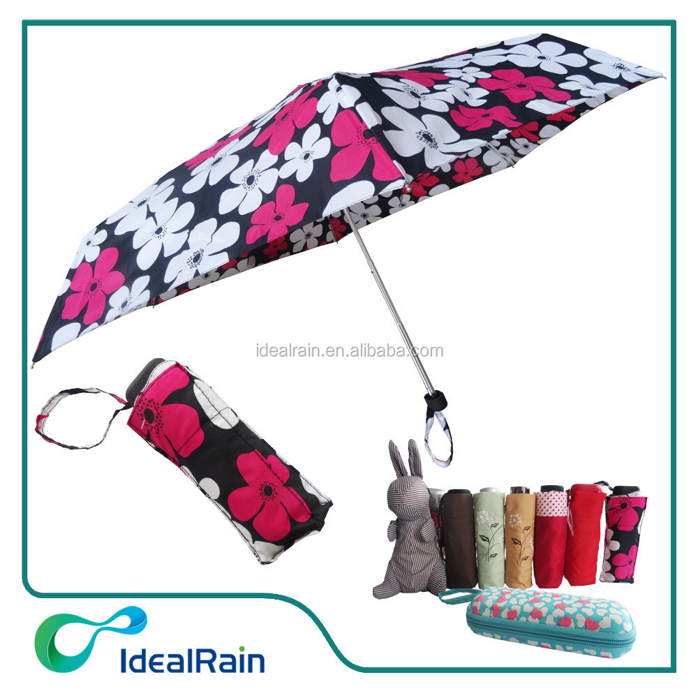 flower printed 5 folding umbrella pocket size