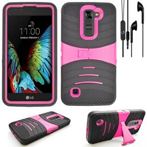 Phone Case for Straight Talk LG Premier 4g LTE / LG K10 4g LTE HeadPhone Earphone-Mic with Heavy Duty Armor Cover Kickstand (As Armor Black-Pink Stand / BK EarPhone)