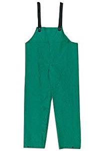 River City Garments 2X Green Dominator .4200 mm PVC And Polyester Flame Resistant Rain Bib Pants With No Fly Closure And Elastic Adjustable Suspender - 1 EA