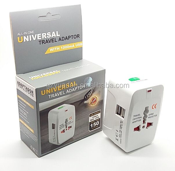 universal multi-plug adapter multi-plug usb adaptor Worldwide Travel Charger Adapter with USB