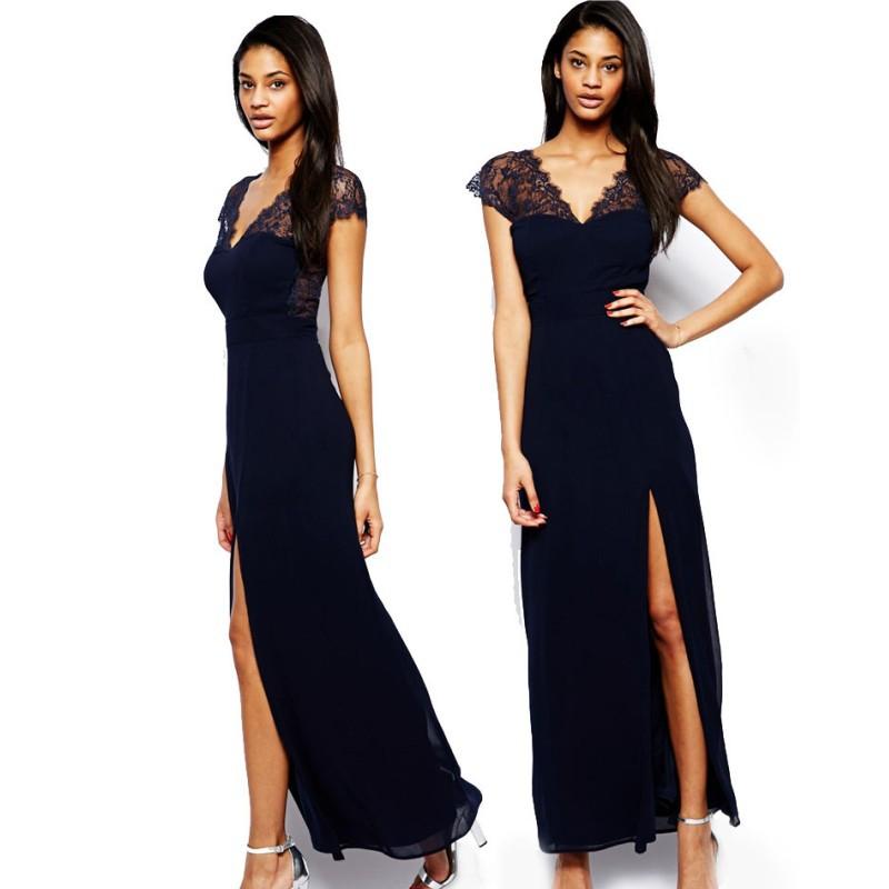26f9635acc3e Get Quotations · 2015 New women elegant lace navy blue long dress chiffon  patchwork maxi dresses long with slit
