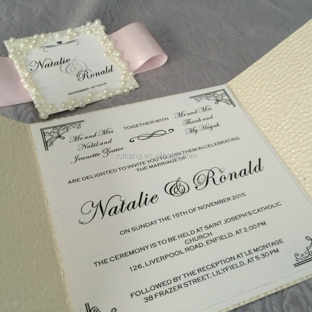 Embossed Pebble Label Wedding Invitation Cards With Hot Stamp ...