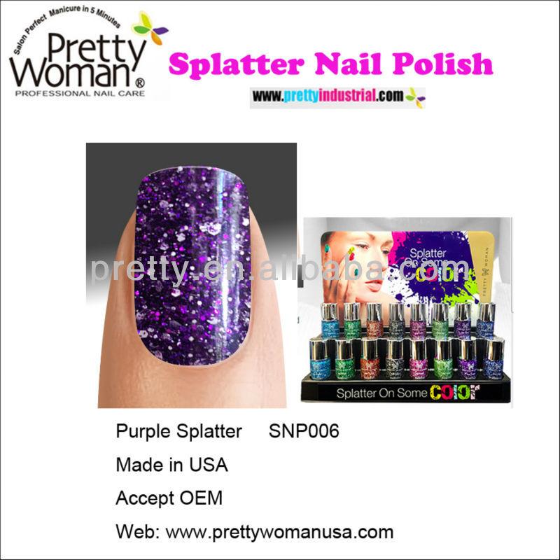 Hot Sale Splatter Nail Polish 10ml Purple Color Pretty Woman Neon ...