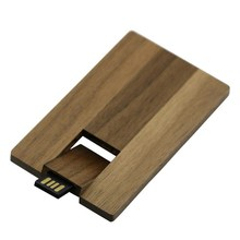 Customized USB 2.0 Pendrive Natural Eversible Wooden Credit Card For Computer