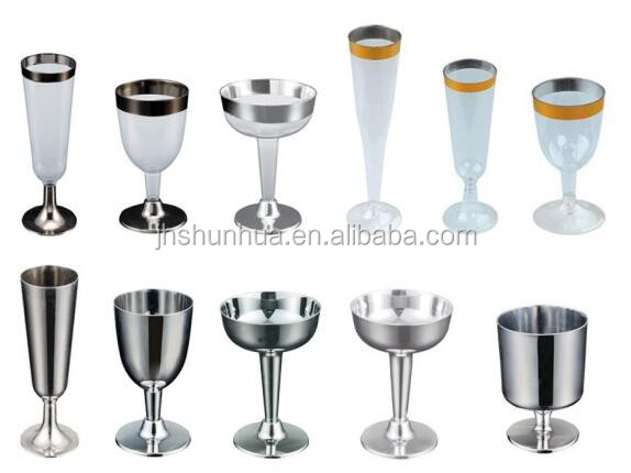 plastic wine glass with gold rim disposable plastic cup