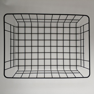 OEM Powder coated Metal Wire mesh storage basket in home or office