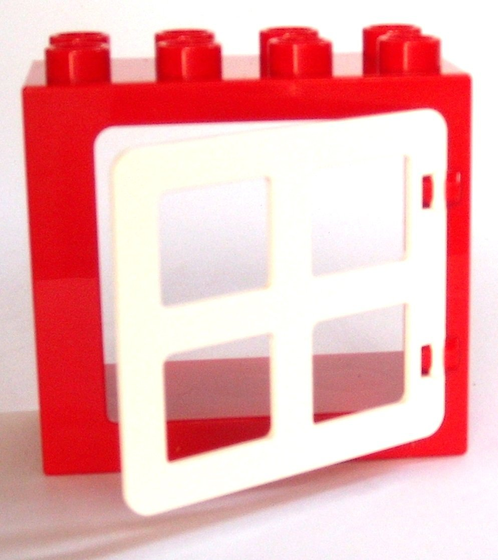 Buy LEGO DUPLO - 1 Loose Red 2x4 Window Frame with White Pane in ...