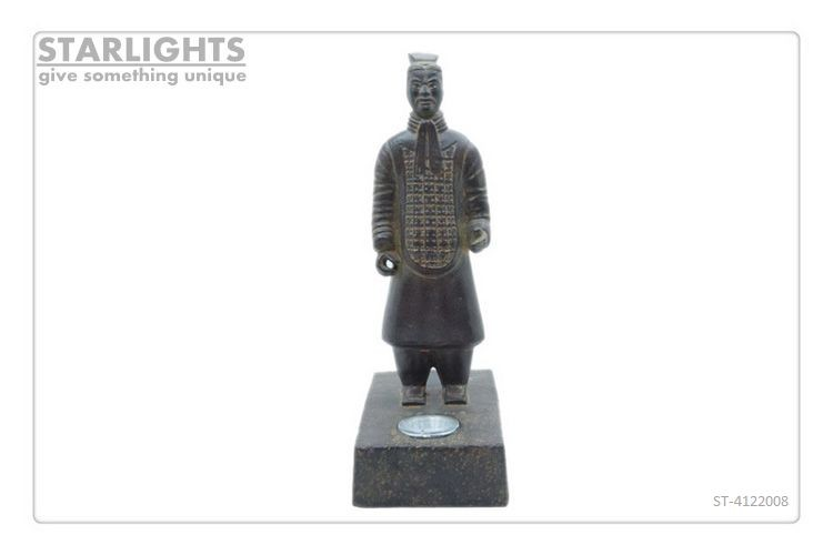 Antique Chinese Polyresin Art Terracotta Warriors with solar light for garden decoration