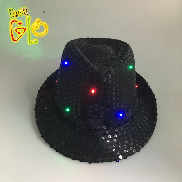 Led Fedora Hat Sequin Flashing Light Up Jazz Cap Costume Fancy Dress Adult Rose Red New Varieties Are Introduced One After Another Home