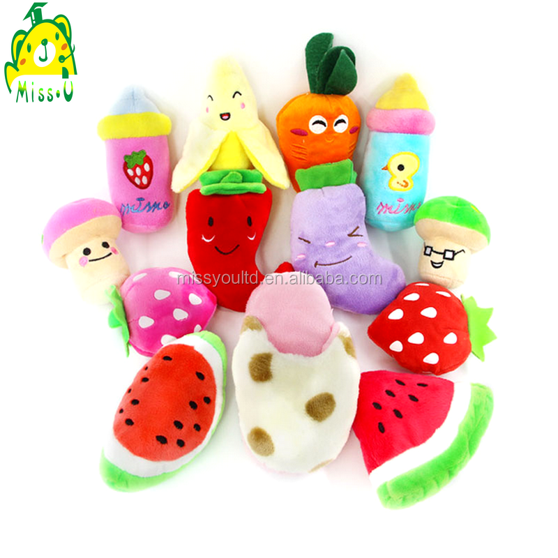 custom various plush and stuffed baby educational vegetables and fruits toys