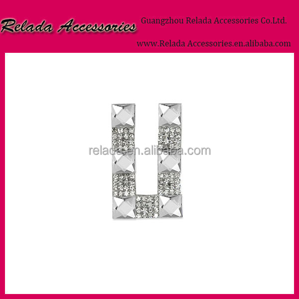 Embroidery factory Silver color letter U iron on crystal Name branded patches